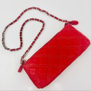 BARNEY'S NEW YORK Red Leather Quilted Bag